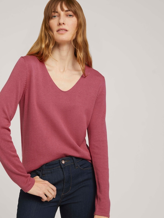 Pullover mit V-Ausschnitt - Frauen - cozy pink - 5 - TOM TAILOR