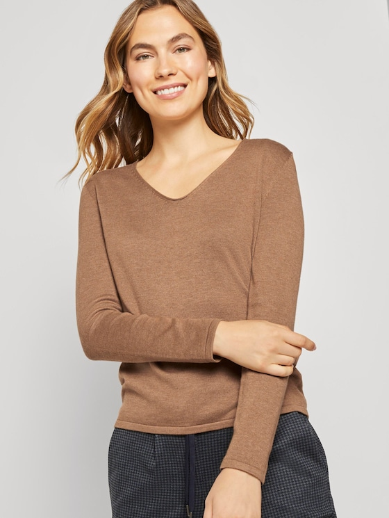 Jumper with V-neckline - Women - Hay Beige Non-Solid - 5 - TOM TAILOR