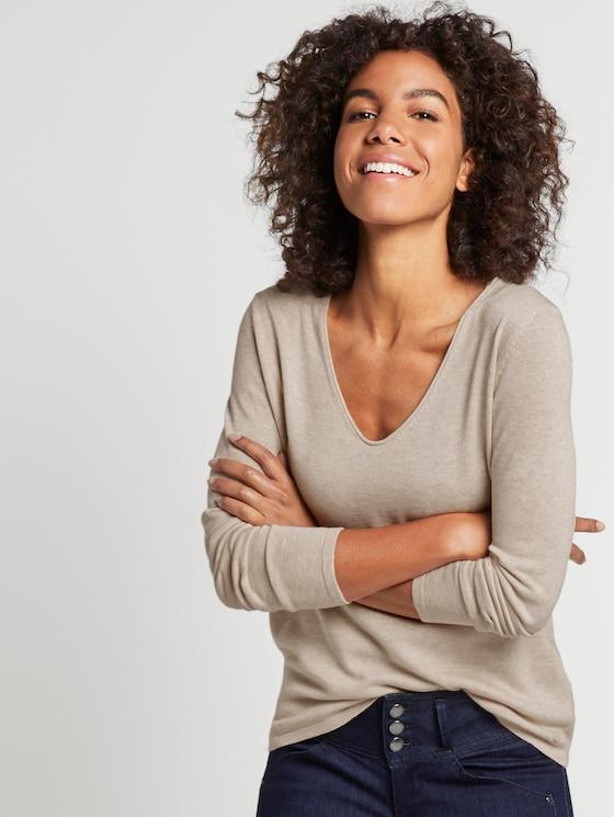 Pullover mit V-Ausschnitt - Frauen - cloud grey melange - 5 - TOM TAILOR
