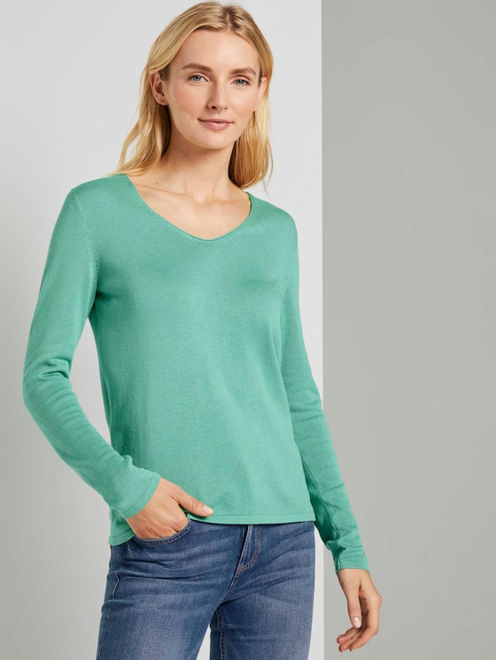 Jumper with V-neckline - Women - soft leaf green - 5 - TOM TAILOR