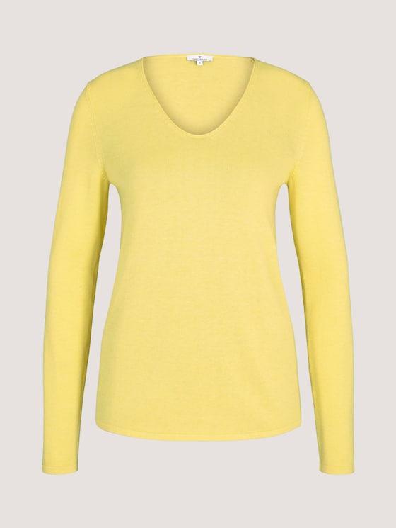 Jumper with V-neckline - Women - smooth yellow melange - 7 - TOM TAILOR