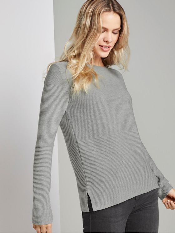 Jumper with knitted pattern - Women - Silver Grey Melange - 5 - TOM TAILOR