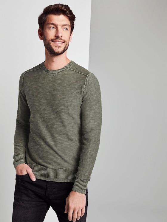 Sweater im washed-look - Männer - Mud Olive - 5 - TOM TAILOR