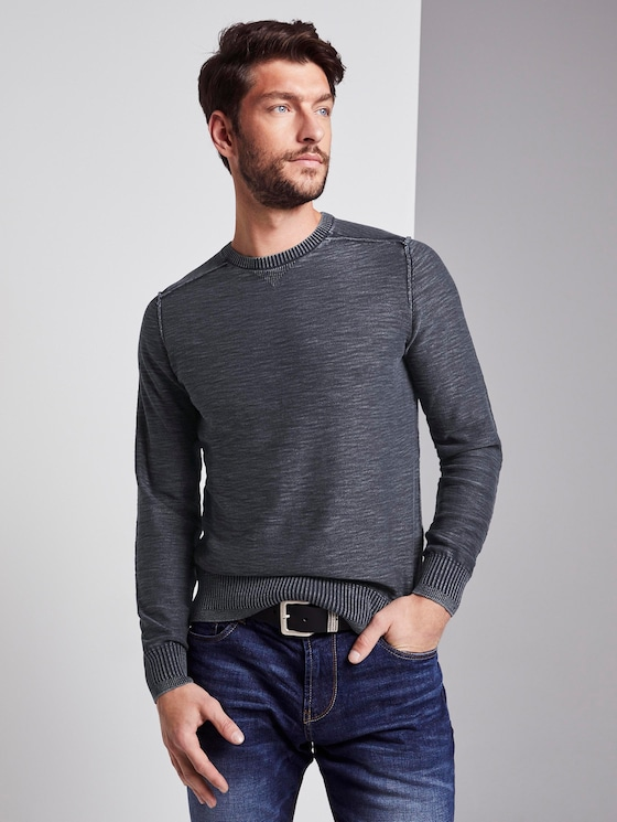 Sweater in washed-look - Mannen - Sky Captain Blue - 5 - TOM TAILOR