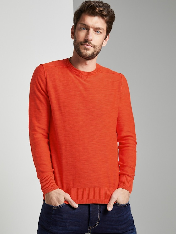 Sweater in washed-look - Mannen - orange red - 5 - TOM TAILOR