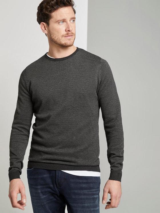 Striped knitted pullover - Men - anthra grey fine stripe - 5 - TOM TAILOR