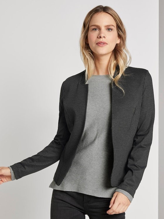 Blazer with houndstooth pattern - Women - black grey small check - 5 - TOM TAILOR