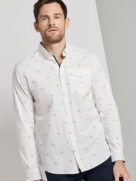 Shirt with all-over print - Men - white navy scattered design - 5 - TOM TAILOR