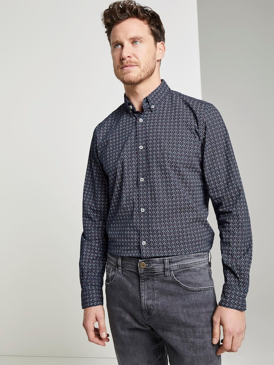 Patterned shirt - Men - navy red geometrical design - 5 - TOM TAILOR
