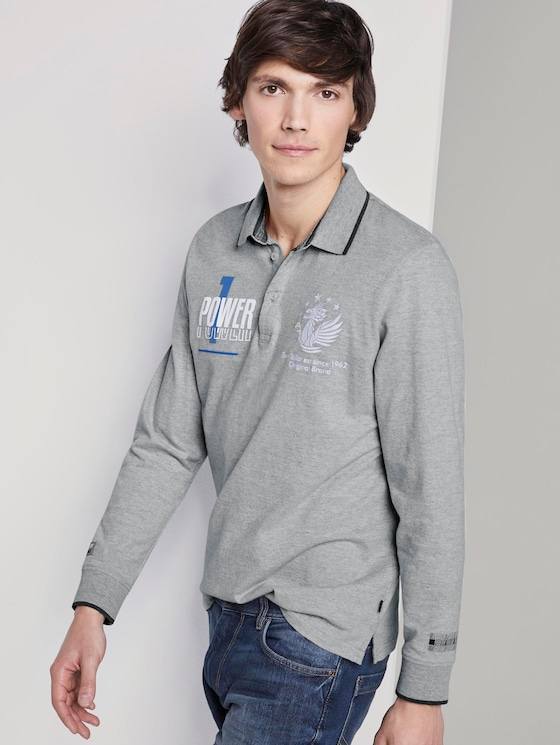 Kylin: Long sleeved polo shirt with print - Men - Middle Grey Melange - 5 - TOM TAILOR