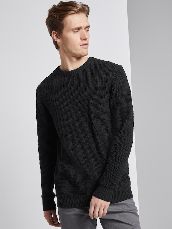 strukturierter Pullover - Männer - Black - 5 - TOM TAILOR Denim