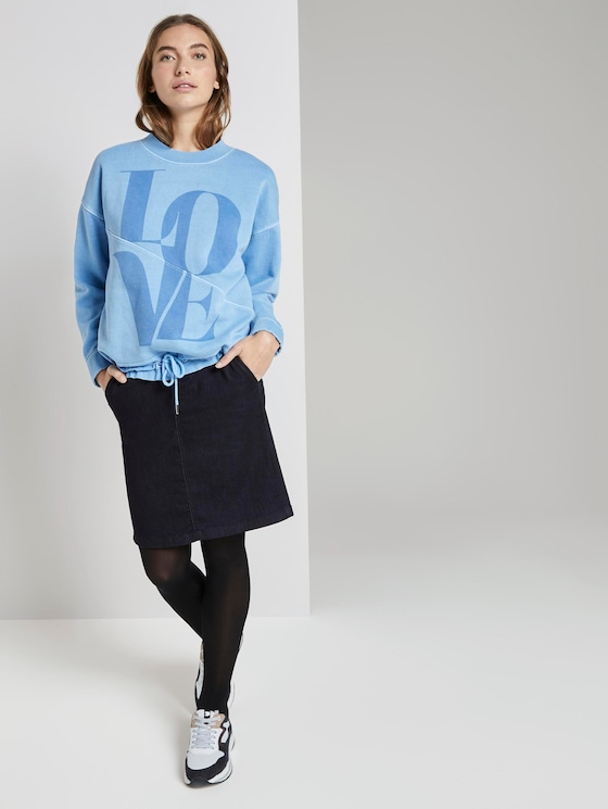 Denim skirt with tie band - Women - Clean Rinsed Blue Denim - 3 - TOM TAILOR