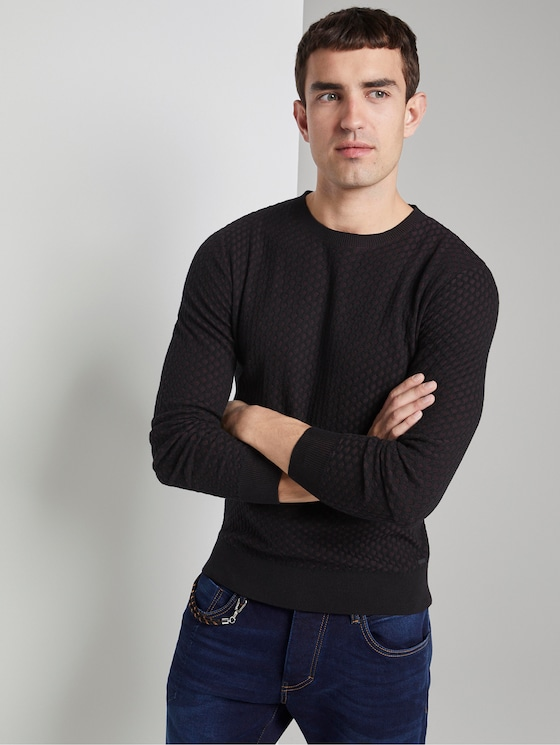 Pullover mit Allover-Muster - Männer - black purple rhomb structure - 5 - TOM TAILOR