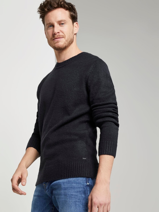 Schlichter Strickpullover - Männer - Sky Captain Blue - 5 - TOM TAILOR