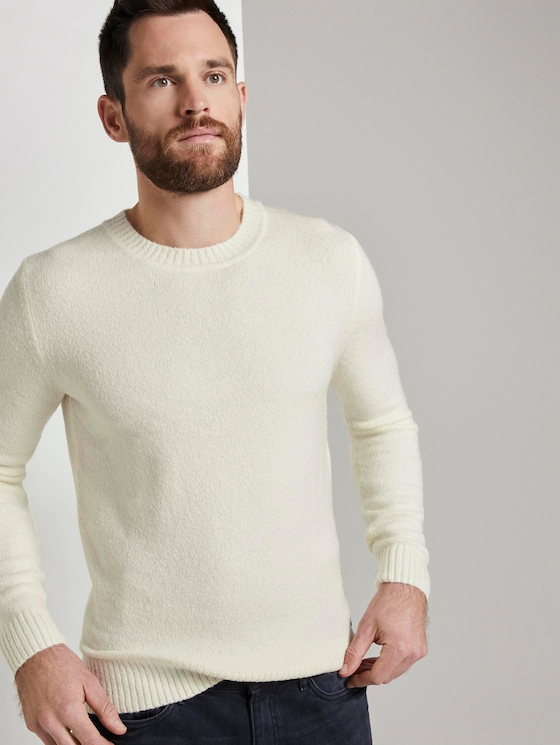 Knitted jumper with wool material - Men - vanilla white - 5 - TOM TAILOR