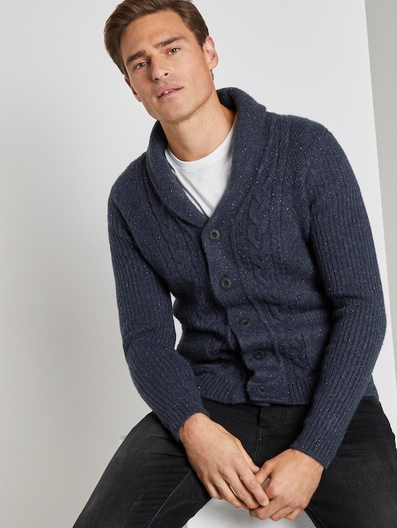 Knitted jacket in structure mix - Men - blue nep yarn - 5 - TOM TAILOR