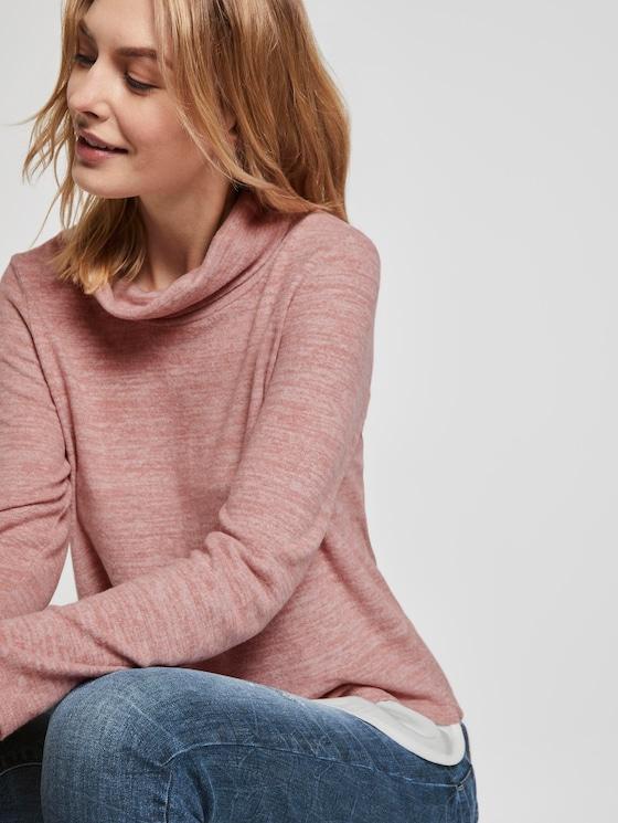Sweater in 2-in-1 look - Vrouwen - Vintage Rose Melange - 5 - TOM TAILOR