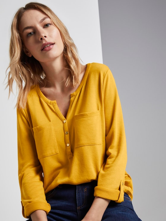 Shirt mit Henley-Ausschnitt - Frauen - Merigold Yellow - 5 - TOM TAILOR