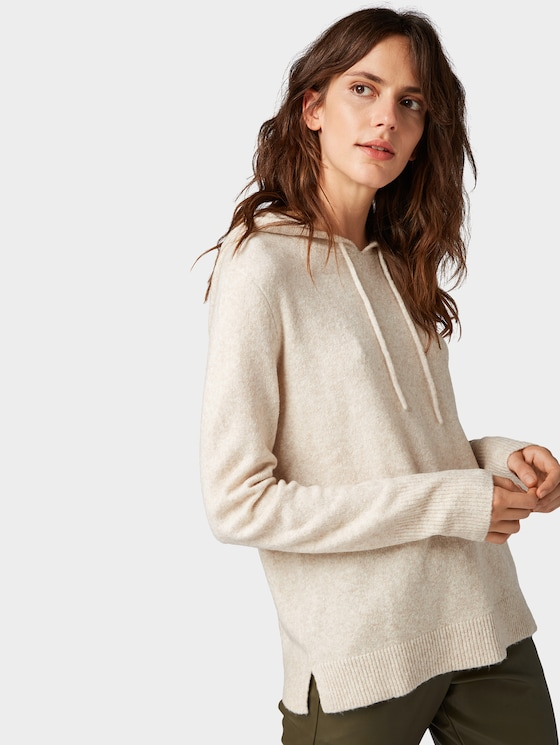 Hoody with drawstring - Women - Light Grey Melange - 5 - TOM TAILOR