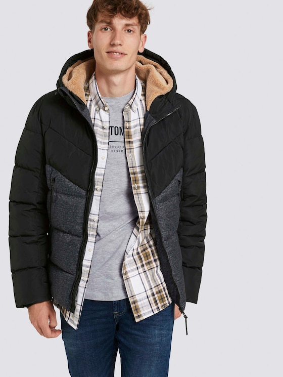 Puffer jacket with hood - Men - grey check print - 5 - TOM TAILOR Denim