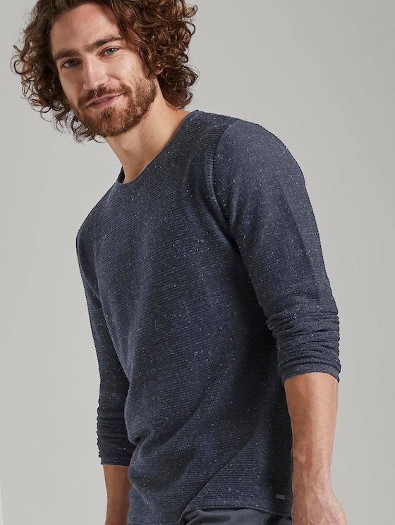 Strukturiertes Sweatshirt - Männer - navy grey heather melange - 5 - TOM TAILOR