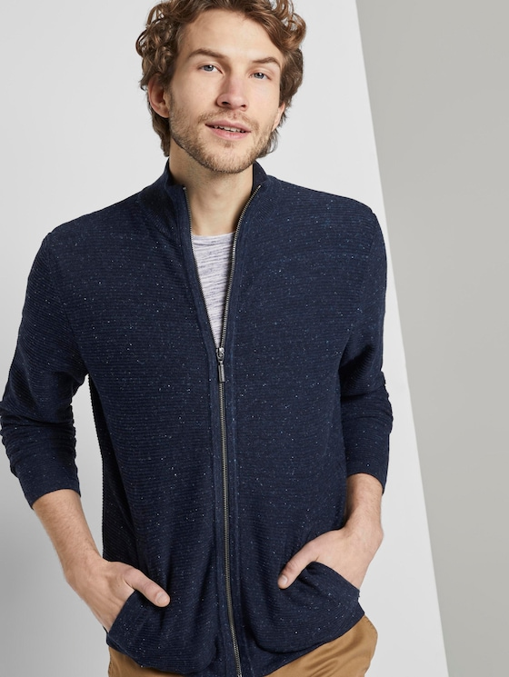 Strukturierter Cardigan - Männer - navy grey heather melange - 5 - TOM TAILOR