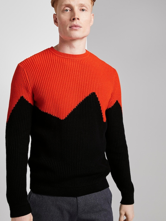 Trui met colorblocking - Mannen - Tango Orange - 5 - TOM TAILOR Denim