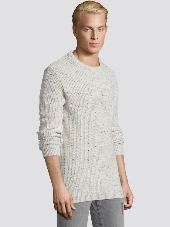 Pullover mit Strukturmuster - Männer - ecru nap structure - 5 - TOM TAILOR Denim