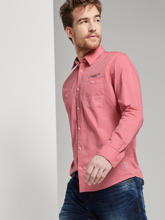 Chambray Hemd - Männer - red honeycomb chambray - 5 - TOM TAILOR