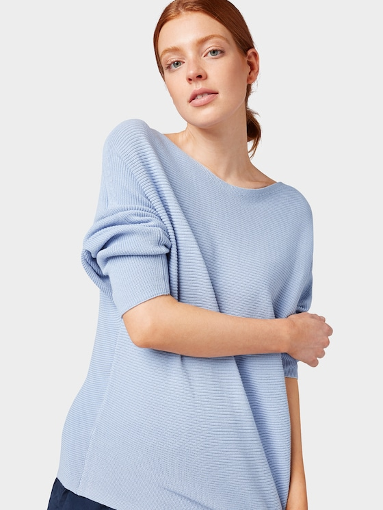 Jumper with striped structure - Women - Parisienne Blue - 5 - TOM TAILOR