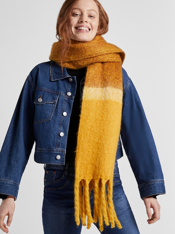 Sjaal met colorblocking - Vrouwen - grey yellow colorblock - 5 - TOM TAILOR Denim