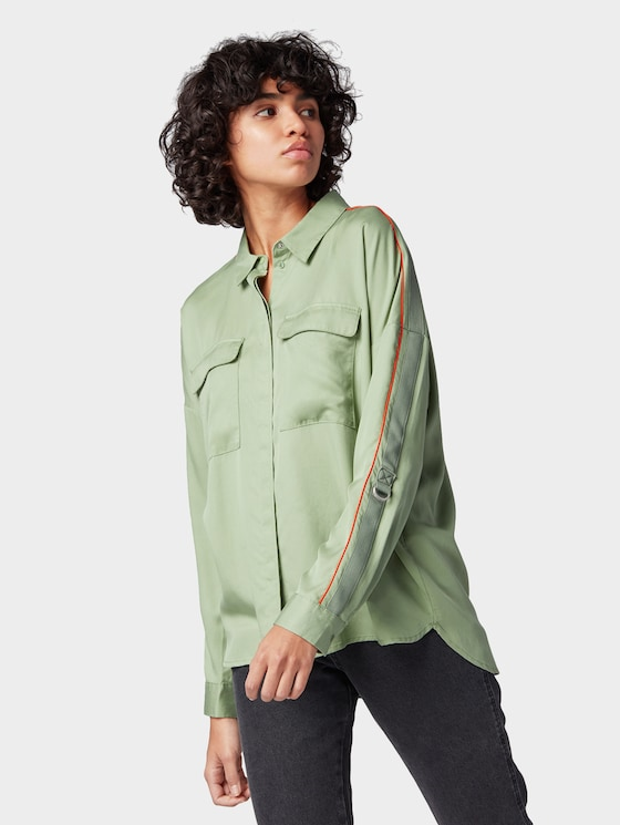 Oversized blouse with tape detail - Women - light mint green - 5 - TOM TAILOR Denim