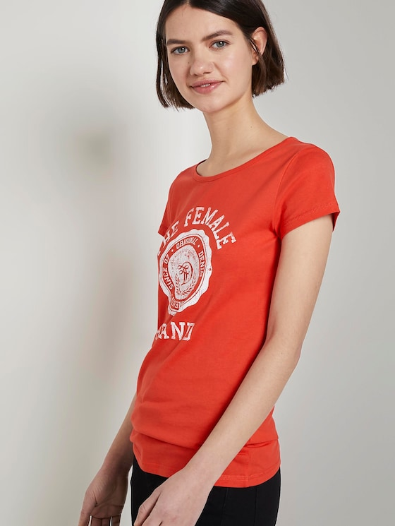 T-Shirt mit Print - Frauen - brilliant red - 5 - TOM TAILOR Denim