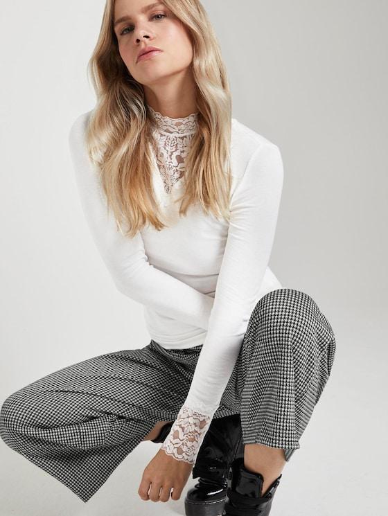 Lange mouwen shirt met kant - Vrouwen - Off White - 5 - TOM TAILOR Denim