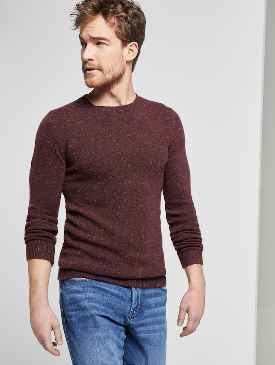 gemusterter Strickpullover - Männer - burgundy nep yarn - 5 - TOM TAILOR