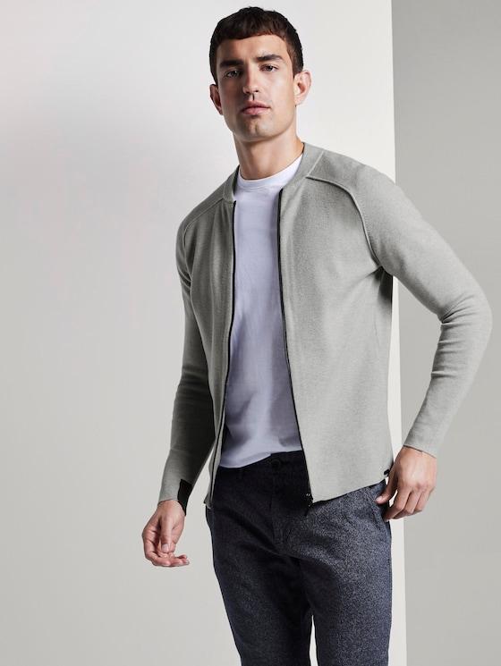 Modern gebreide collegesweater - Mannen - Light Soft Grey Melange - 5 - TOM TAILOR
