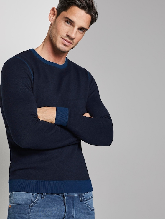 strukturierter Strickpullover - Männer - dark grey blue birdseye - 5 - TOM TAILOR