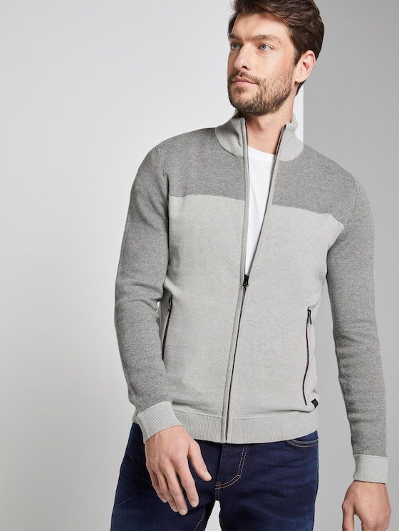strukturierte Strickjacke - Männer - dark grey birdseye - 5 - TOM TAILOR