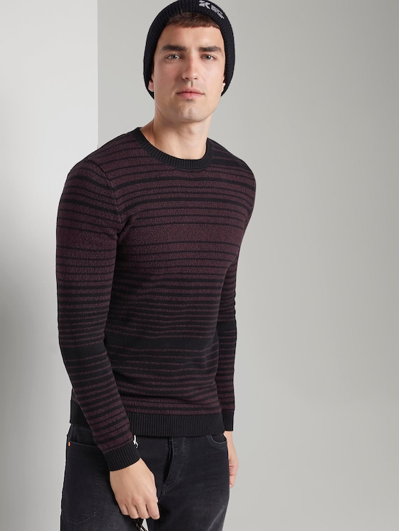striped knitted pullover - Men - burgundy mouline colourflow - 5 - TOM TAILOR