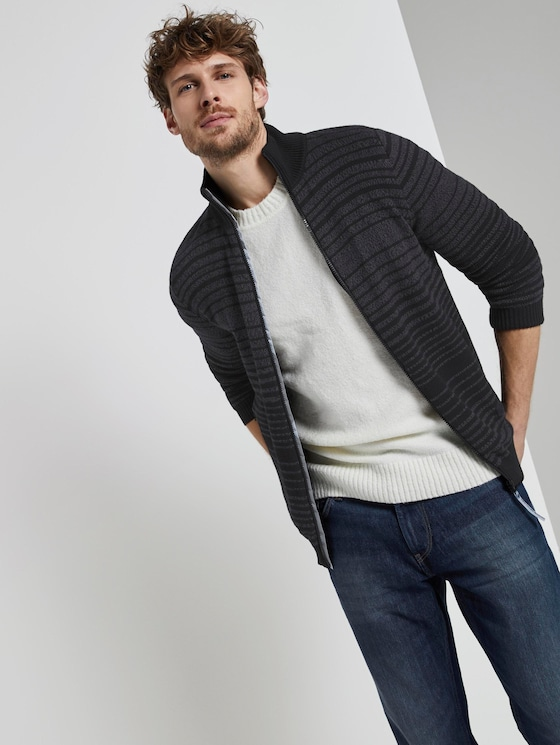 gestreifte Strickjacke - Männer - grey mouline colourflow - 5 - TOM TAILOR