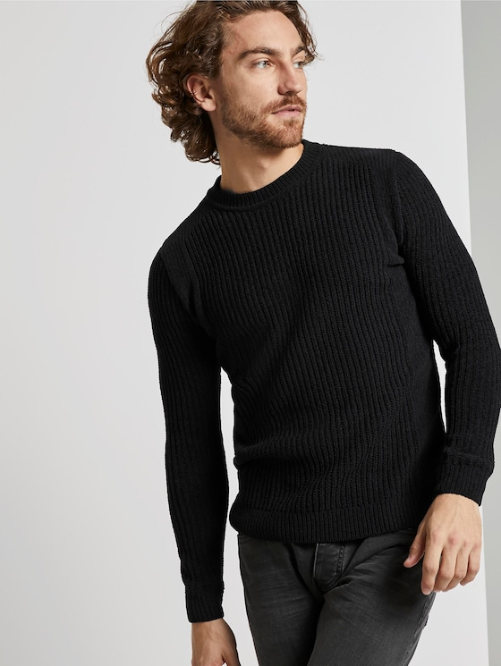 Gebreide trui met textuur - Mannen - Dark Greyish Black - 5 - TOM TAILOR