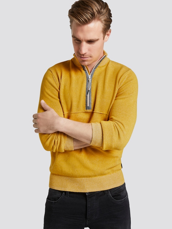 Strickpullover in Melange-Optik - Männer - golden nugget - 5 - TOM TAILOR