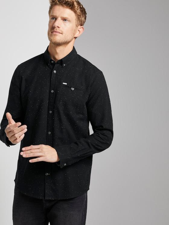 Hemd mit Brusttasche - Männer - black with yellow neps - 5 - TOM TAILOR
