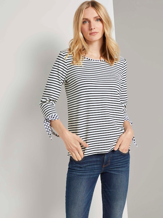 Langarmshirt mit Knotendetails - Frauen - black white stripe - 5 - TOM TAILOR