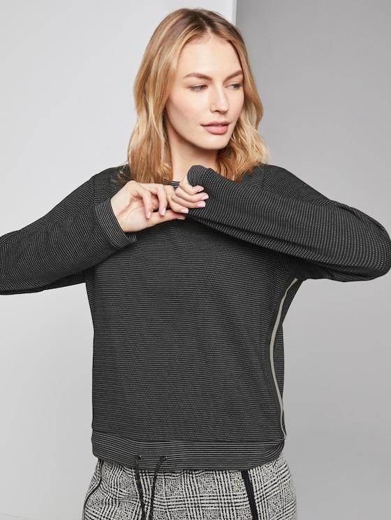 Langarmshirt mit Kordelzug - Frauen - black dotted fabric - 5 - TOM TAILOR