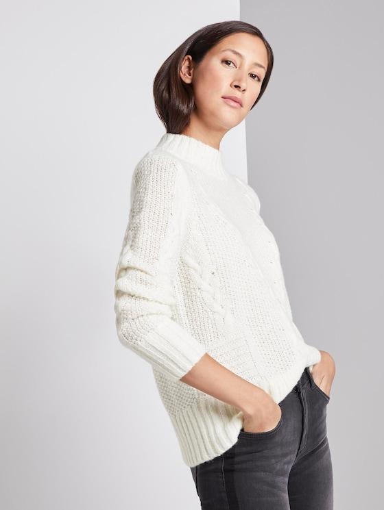 Structured sweatshirt - Women - Whisper White - 5 - TOM TAILOR