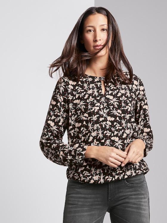 Gemusterte Bluse mit Allover-Print - Frauen - black floral design - 5 - TOM TAILOR