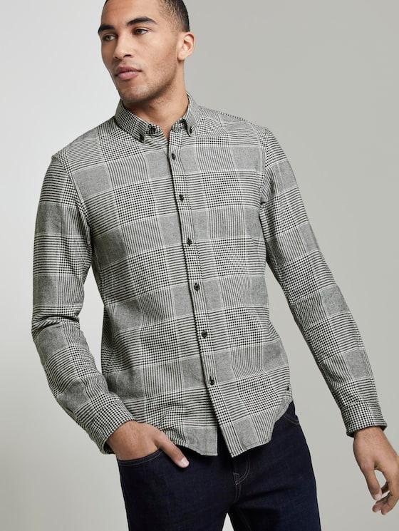 Flannel shirt - Men - black off white glencheck - 5 - TOM TAILOR Denim