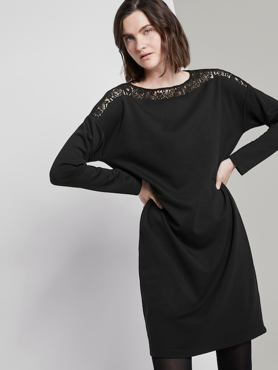 Dress with lace - Women - Deep Black - 5 - TOM TAILOR