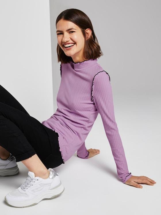 Geribbelde lange mouwen shirt - Vrouwen - sweet lavender - 5 - TOM TAILOR Denim